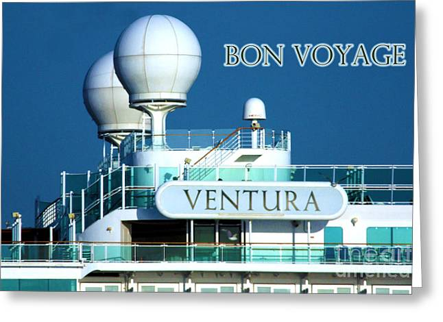 Cruise Ship Ventura's Radar Domes Greeting Card by Terri Waters