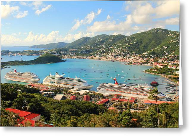 Cruise Ships In St. Thomas Usvi Greeting Card
