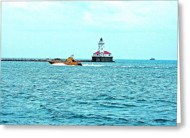 Cruising Chicago Lakefront Greeting Card