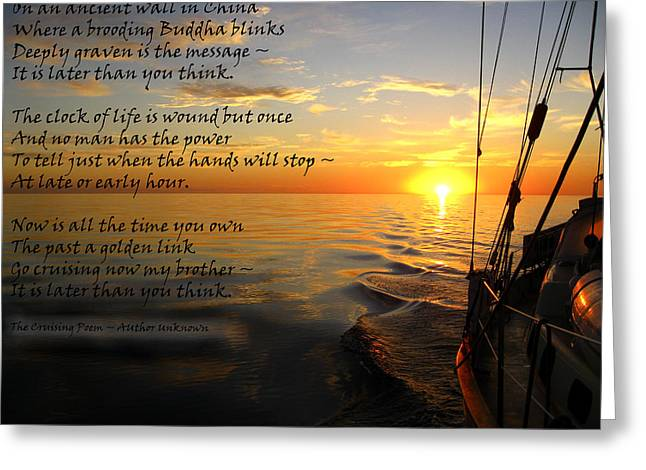 Cruising Poem Greeting Card by Anne Mott