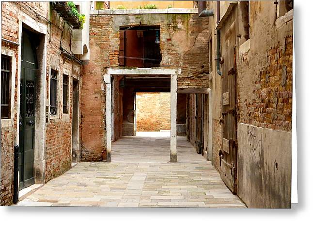 Crumbling Walls Of Venice Greeting Card by Bishopston Fine Art