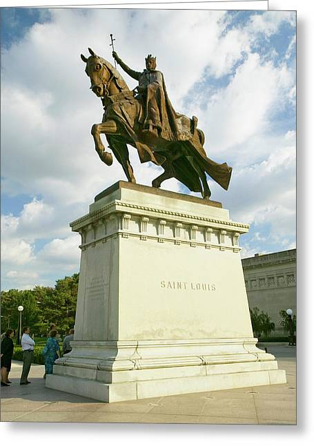 Crusader King Louis Ix Statue In Front Greeting Card