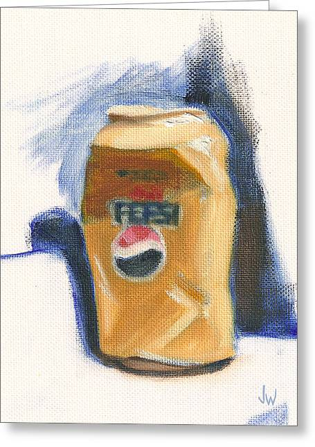 Greeting Card featuring the painting Crushed Can by Joe Winkler