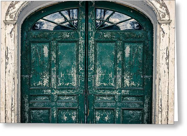 Behind The Green Door Greeting Card by Edward Fielding
