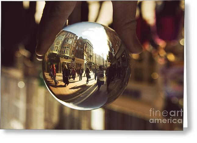 Crystal Ball On Grafton Street Dublin Greeting Card by Catherine MacBride