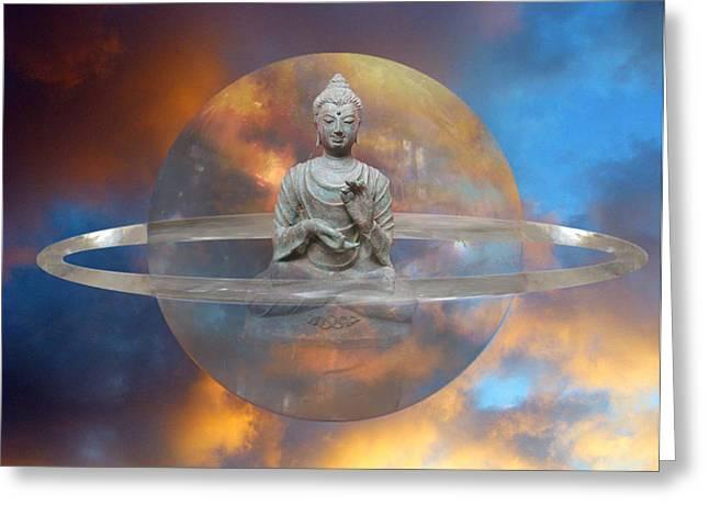 Crystal Buddha Meditation Greeting Card by Gill Piper