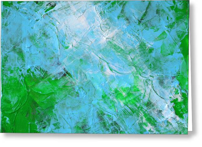 Crystal Cave - Green Pale Blue Abstract By Chakramoon Greeting Card by Belinda Capol