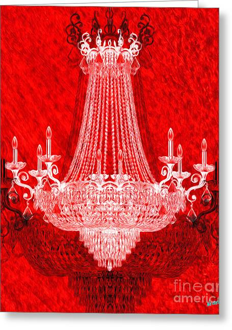 Crystal Chandelier On Red Greeting Card by Jon Neidert