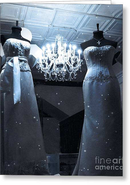 Crystal Chandelier Opulence - Elegant Paris Fashion Couture Starry Night Chandelier Illumination Greeting Card by Kathy Fornal