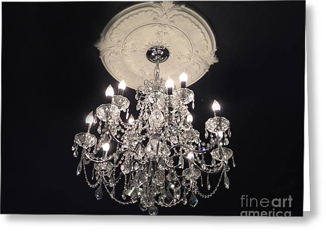 Crystal Chandelier - Paris Black And White Chandelier - Sparkling Elegant Chandelier Opulence Greeting Card by Kathy Fornal