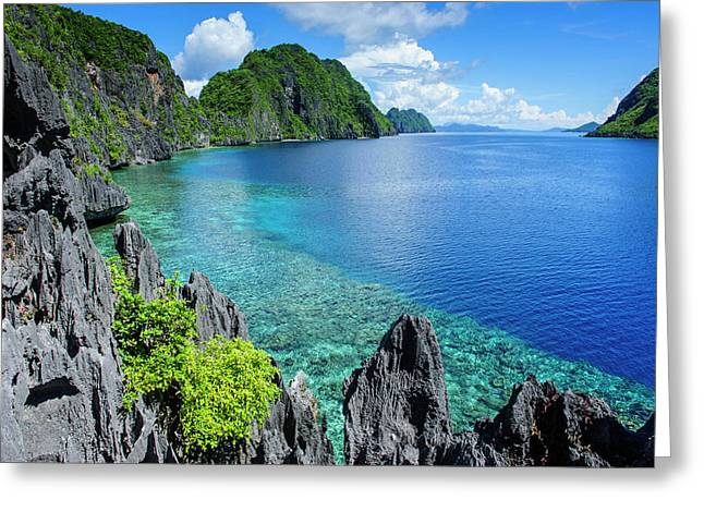 Crystal Clear Water In The Bacuit Greeting Card by Michael Runkel