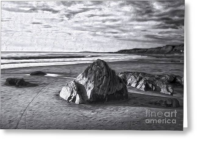 Crystal Cove Sea Shore - Black And White Greeting Card by Gregory Dyer