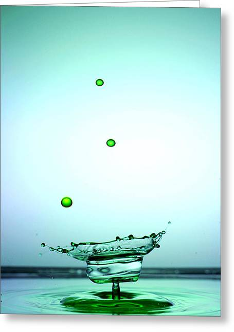 Crystal Cup Water Droplets Collision Liquid Art 4 Greeting Card by Paul Ge