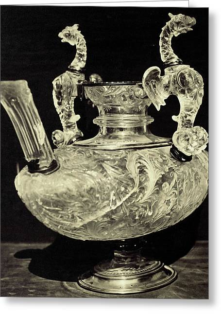 Crystal Decanter Engraved With Animal Handles Greeting Card