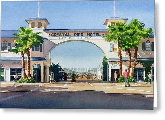 Crystal Pier Pacific Beach Greeting Card by Mary Helmreich