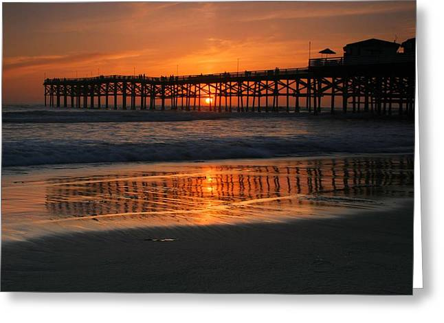 Crystal Pier Sunset Greeting Card