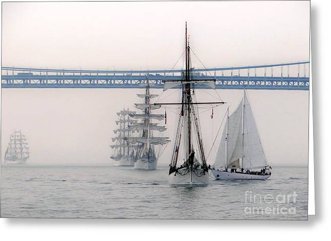 Crystal Ships On The Water Nyc Greeting Card by Ed Weidman