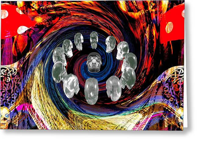 Crystal Skulls Greeting Card by Jason Saunders