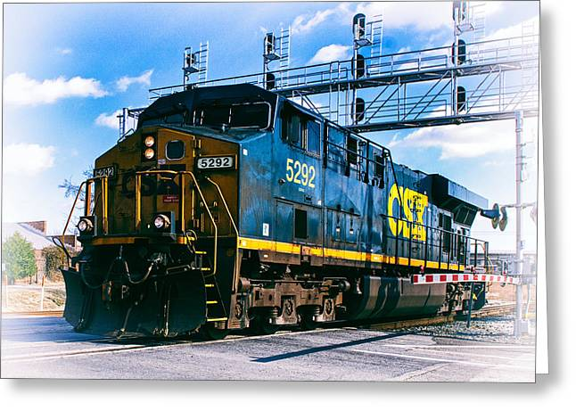 Csx 5292 Warner Street Crossing Greeting Card by Bill Swartwout