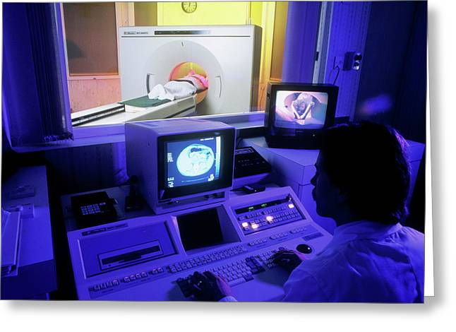 Ct Scan In Progress Greeting Card by Simon Fraser/science Photo Library