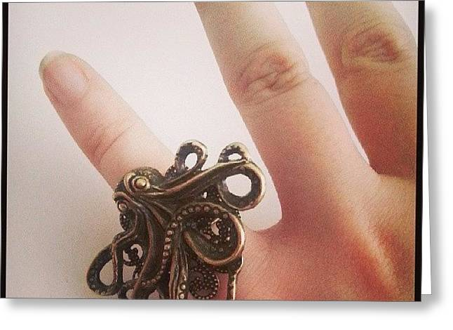 #cthulhu #ring ♥ #octopus #jewelry Greeting Card