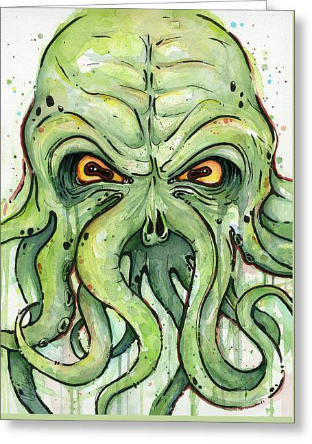 Cthulhu Watercolor Greeting Card by Olga Shvartsur