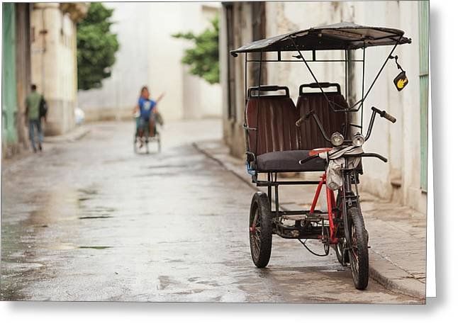 Cuba, Havana, Havana Vieja, Pedal Taxi Greeting Card