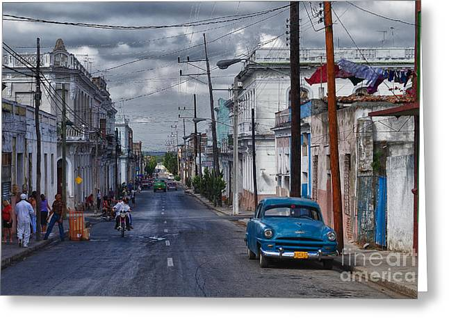Greeting Card featuring the photograph Cuba Traffic by Juergen Klust