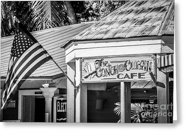 Cuban Cafe And American Flag Key West - Black And White Greeting Card