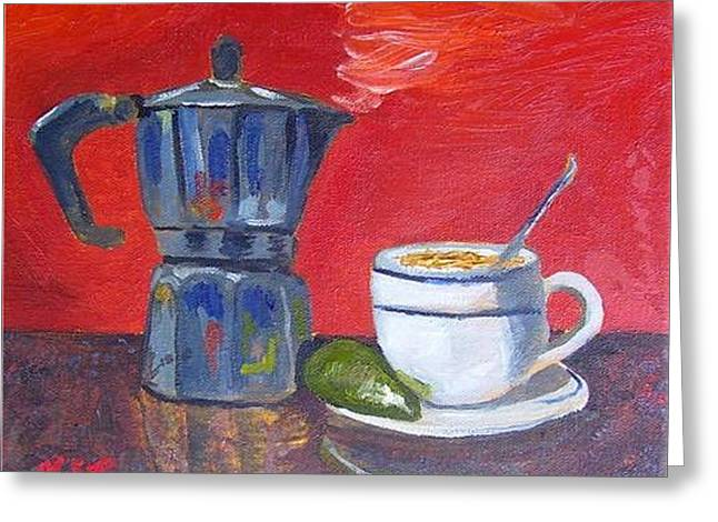 Cuban Coffee Lime Red Greeting Card by Maria Soto Robbins