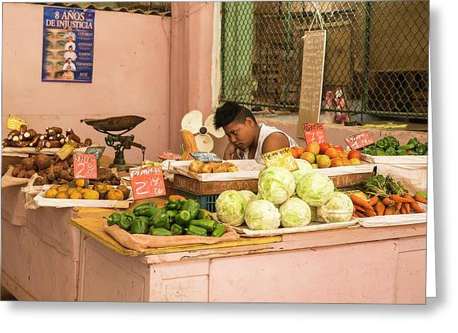 Cuban Market Stall Greeting Card by Peter J. Raymond