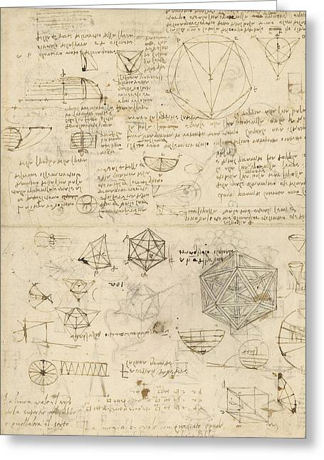 Cube Sphere Icosahedron Mention Of Known Project For Telescope  Greeting Card by Leonardo Da Vinci