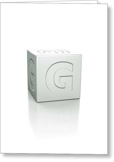 Cube With The Letter G Embossed Greeting Card by David Parker/science Photo Library