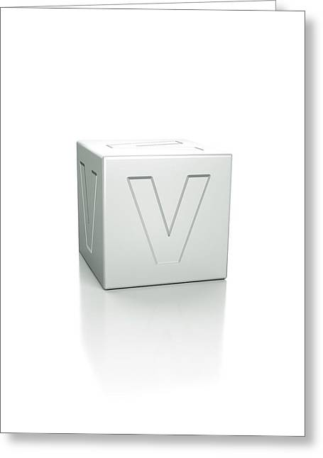 Cube With The Letter V Embossed Greeting Card by David Parker/science Photo Library