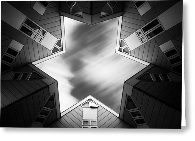 Cubic Star Greeting Card by Dave Bowman