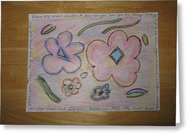 Cubism Flowers 4 Greeting Card