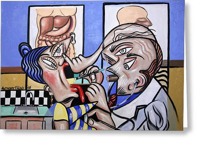 Cubist Doctor Md Greeting Card by Anthony Falbo