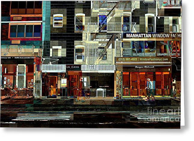 Shops Greeting Card by Miriam Danar