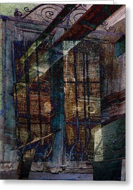 Cubist Shutters Doors And Windows Greeting Card by Sarah Vernon