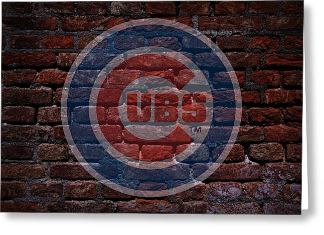Cubs Baseball Graffiti On Brick  Greeting Card by Movie Poster Prints