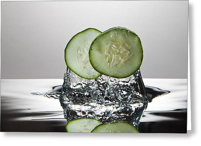 Cucumber Freshsplash Greeting Card by Steve Gadomski