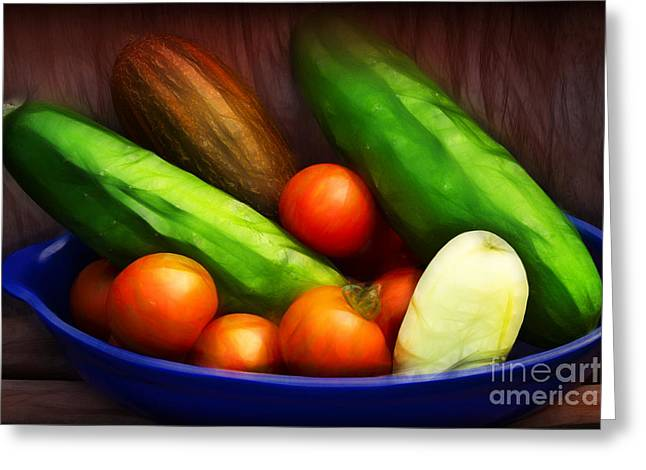 Cucumbers And Tomatoes Artwork Greeting Card