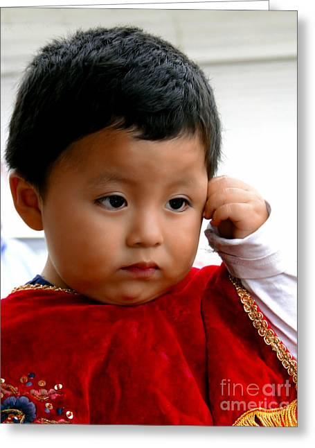 Cuenca Kids 474 - The Thinker? Greeting Card by Al Bourassa