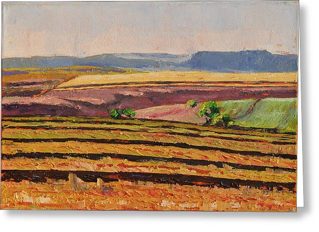 Greeting Card featuring the painting Cultivated Fields Near Ficksburg South Africa Bertram Poole by Thomas Bertram POOLE
