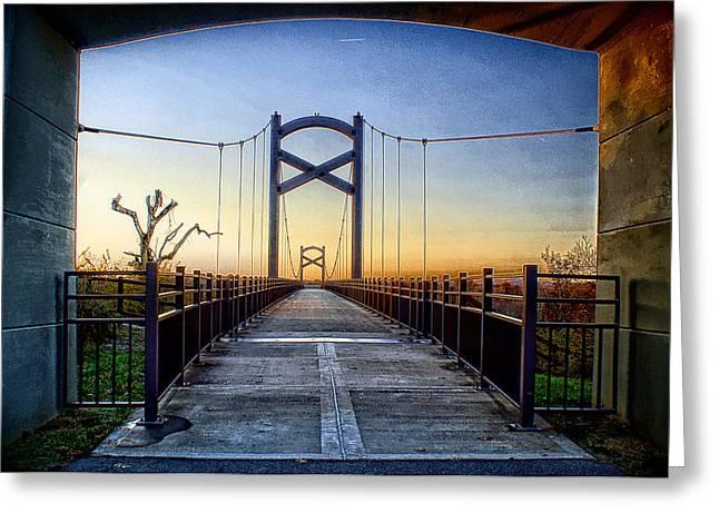 Cumberland River Pedestrian Bridge Greeting Card by Patrick Collins