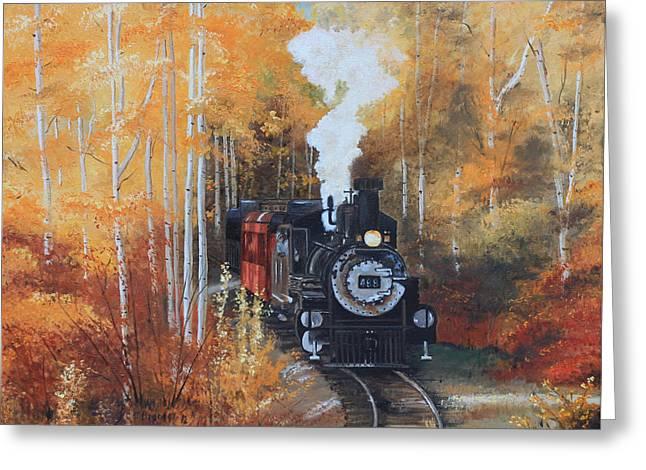 Cumbres And Toltec Railroad Steam Train Greeting Card by Cecilia Brendel
