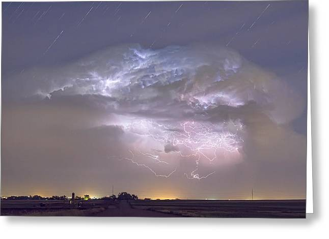 Cumulo-nimbus Lightning Storm And Star Trails Above Greeting Card
