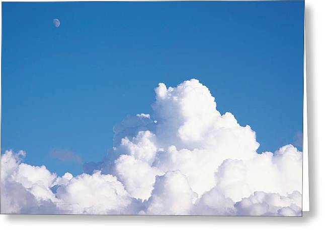 Cumulus Clouds And Moon In Sky Greeting Card