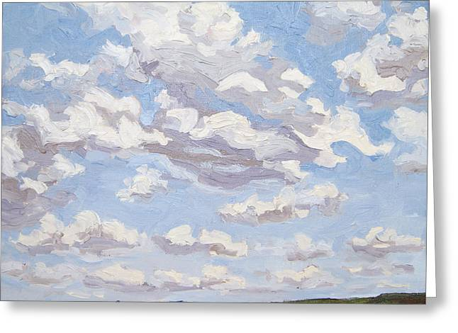 Greeting Card featuring the painting Cumulus Clouds Over Flint Hills by Erin Fickert-Rowland