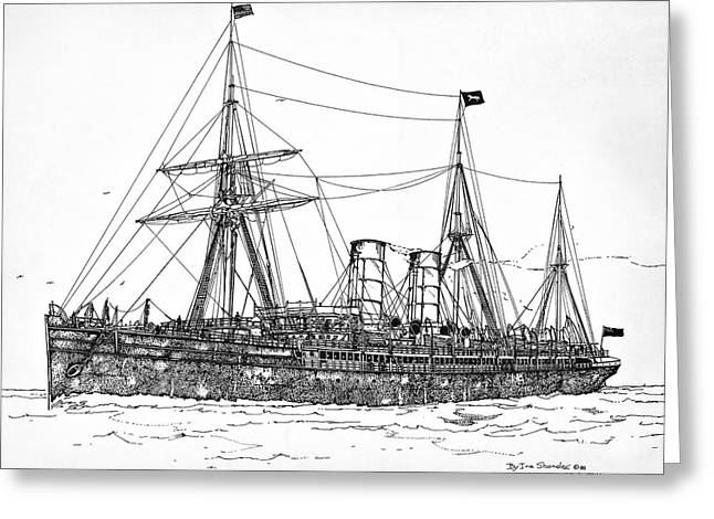 Greeting Card featuring the drawing Cunard Liner Umbria 1880's by Ira Shander